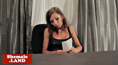 Shemales, Shemale solo, Tit wank, Office busty