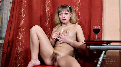 Schoolgirl, Hairy solo, Pigtail, Alone