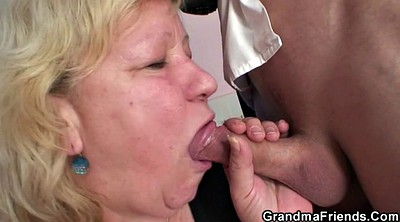 Granny threesome, Old & young, Double penetration mature