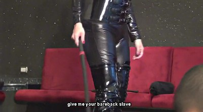 Whip, Whipping, Mistress whipping, Male slave, Latex slave, Femdom whipping