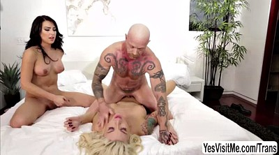 Aubrey kate, Shemale threesome, Shemale fucks shemale, Two shemales, Famous, Aubrey