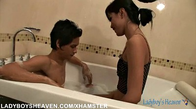 Bathing, Asian tranny, Shemale small cock, Asian skinny