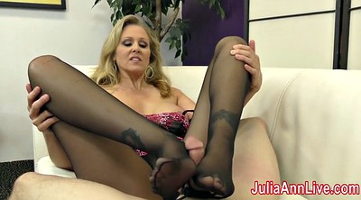 Julia, Milf stocking, Julia ann, Foot tease, Stocking footjob, Slave foot