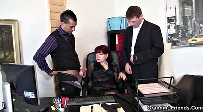 Office stocking, Young threesome