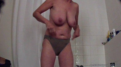Hidden shower, Saggy, Saggy tits, Hidden granny, Big nipples, Shower hidden