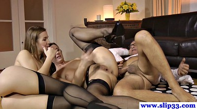 Milf creampie, Two man, Couch
