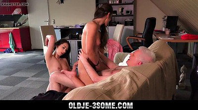 Grandpa, Young girl, Bedroom, Young facial, Teen old, Granny group