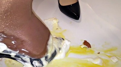 Party, Whipped, Cream, Whipped cream, Pantyhose heels, Pantyhose foot