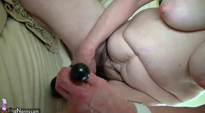 Granny masturbation, Big dildo