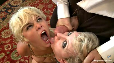 Threesome, Short hair, Vibrator, Slave sex, Sex slave, Blonde short