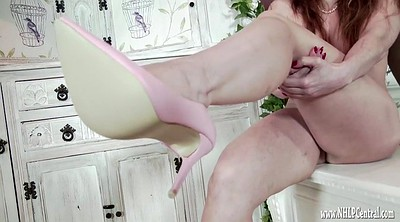 Naked, High heels in pussy, Tit wank, To love