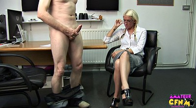 Clothed, Office handjob