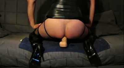 Boots, Boot, Dildo ride, Latex masturbation, Huge toy, Strokes