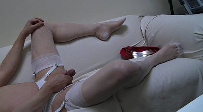 Pantyhose handjob, White stockings