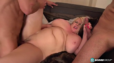 Riding, Blonde chubby, Two cocks