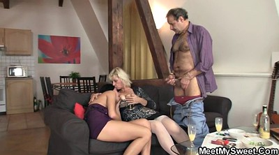 Mature young, Matures, Sons gf, Old young threesome, Old couple