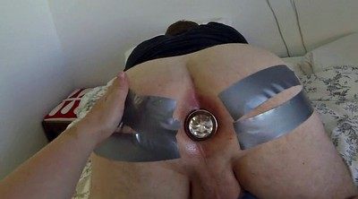 Femdom, Tape, Clear, Anal strapon