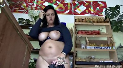 Shop, Shopping, Big tits mature, Mature handjob, In shop