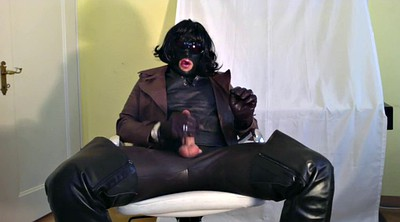 Man, Black man, Shemale handjob, Shemale cumshot, Black leather