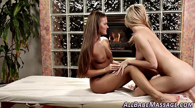 Lesbian massage, Table, Kissing, Squeeze, Pussy massage, Lesbian table