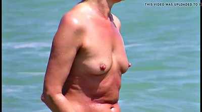 Saggy, Saggy tits, Mature beach, Huge nipples, Hard nipples, Areola
