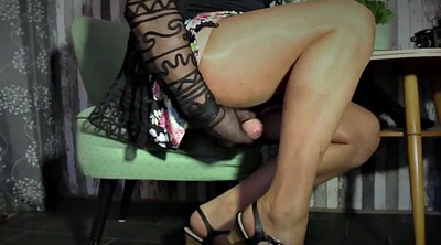 Skirt, Nylon feet, Nylon handjob, Gay feet