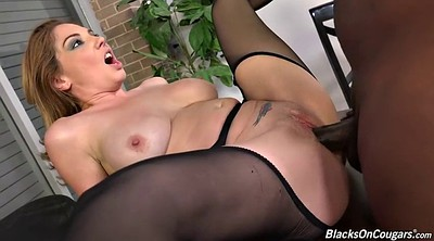 White pantyhose, Office pantyhose, Big black cock