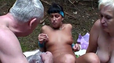Granny outdoor, Mature threesome