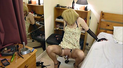 Sissy, Stockings, Chastity, Riding dildo, Black stockings