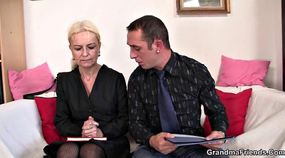 Threesome casting, Old lady, Job interview, Interview