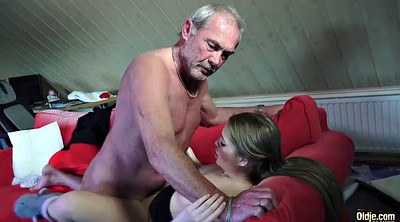 Grandpa, Old grandpa, Small girl, Young swallow, Young pussy, Tits fuck