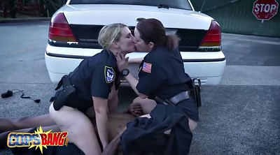 Black, Police, Share, Female, Office threesome