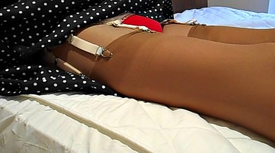 Nylons, Red stocking, Tanned, Amateur stocking, Amateur nylon