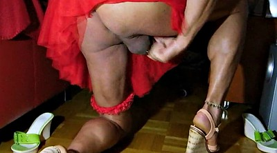 Skirt, Highheel, Drink, Mini skirt, Cum drink, Cum drinking
