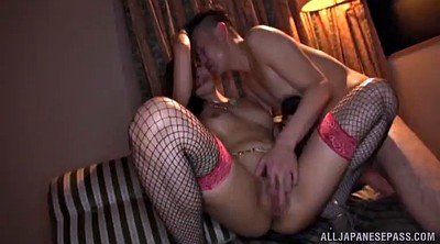 Passion, Asian handjob, Fishnet, Fingered, Ball sucking