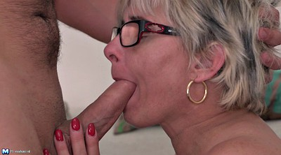 Granny anal, Glasses, Short hair, Young orgasm