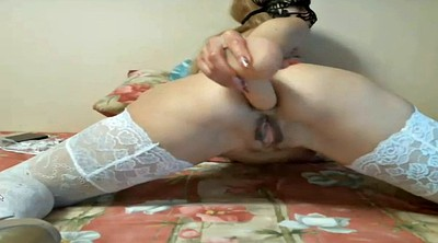 White, Russian anal, Lace, Dildo cam