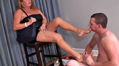 Cuckold, Foot slave, Sexy feet, Male slave, On her knees, Mature feet