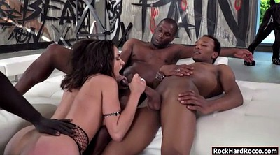 Babe, Double anal, Ebony anal, Interracial foursome