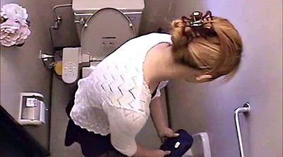 Restroom, Asian girl masturbation, Japanese voyeur