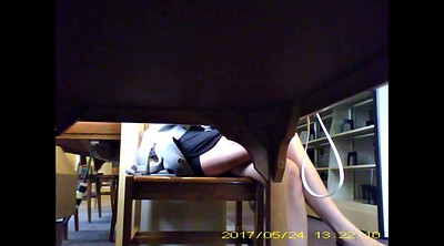 Voyeur, Chinese milf, Chinese voyeur, Chinese cam, Under table, Asian cam