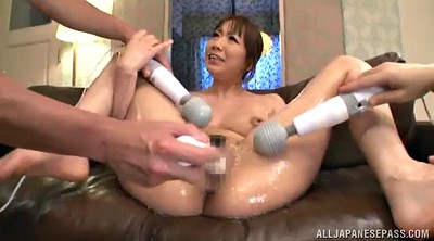 Hairy pussy, Vibrator, Double pussy, Oily, Natural hairy, Asian threesome