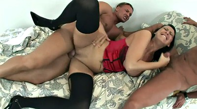 Red milf, Double blowjob, Curvy anal