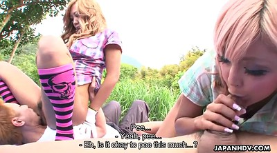 Japanese group, Japanese friend, Hairy blonde, Field, Japanese outdoor, In front