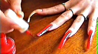 Natural, Red, Red nails