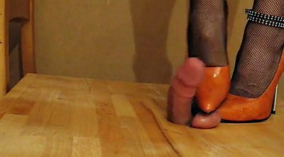 Pain, Painful, Crush, Heels femdom, Orange, Heeled
