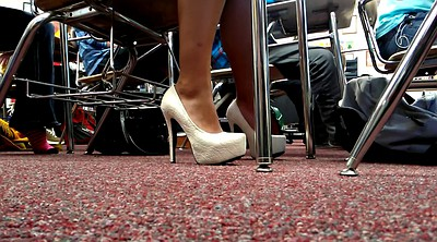 High heels, White foot