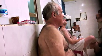 Shower, Gay old, Gay daddy, Naked public, Hairy shower