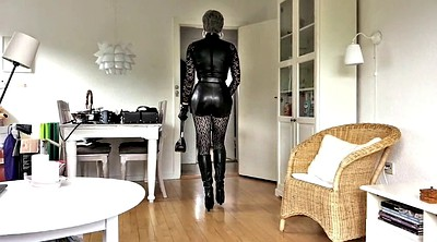 Leather, Stockings masturbating