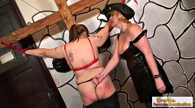 Whipping, Whip, Ass, Leather, Latex lesbian, Latex bondage